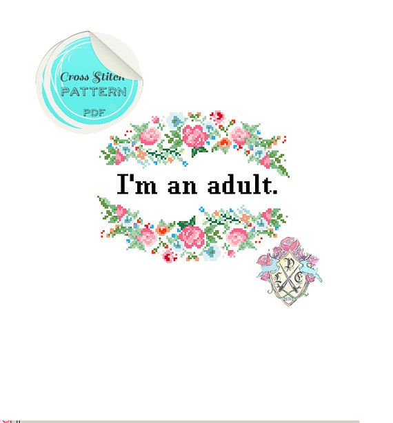 I'm an adult Floral Cross Stitch Pattern. by plasticlittlecovers, £3.00