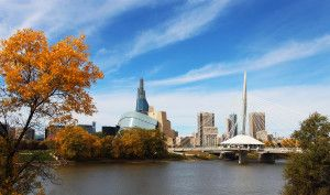 A Touch of Autumn - 2 Picture Panorama - Winnipeg Skyline