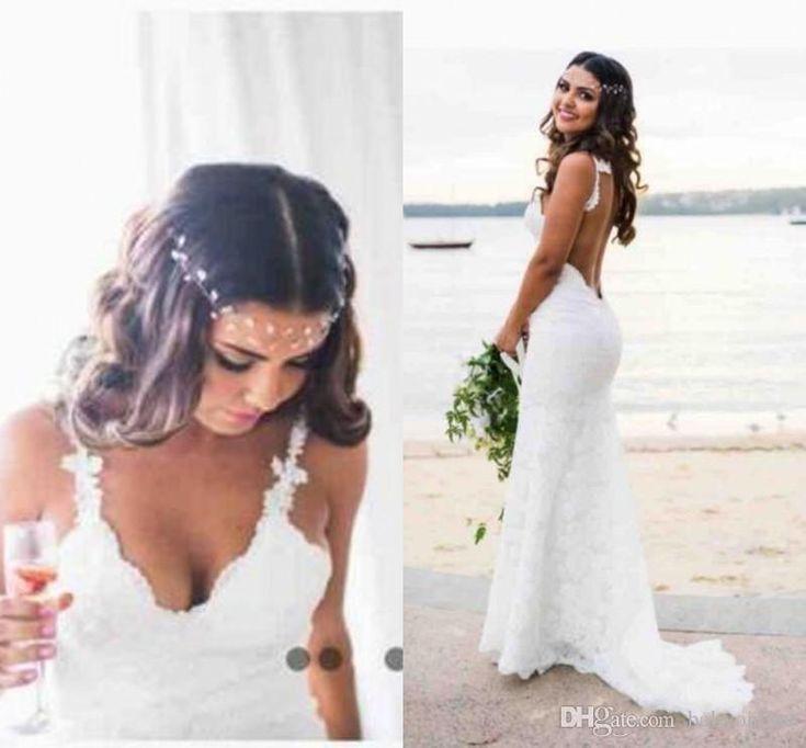 2017 Cheap Bohemian Wedding Dresses Novia Sexy Mermaid Spaghetti Straps Floor Length Backless Full Lace Bridal Gowns Mermaid Wedding Dress Body Type Mermaid Wedding Dress With Straps From Babyonline, $120.11  Dhgate.Com