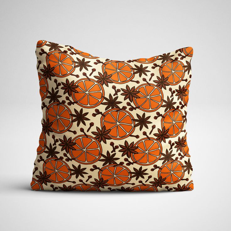 A mockup of a pillow using one of the patterns from Northern Whimsy's Christmas Spice collection.
