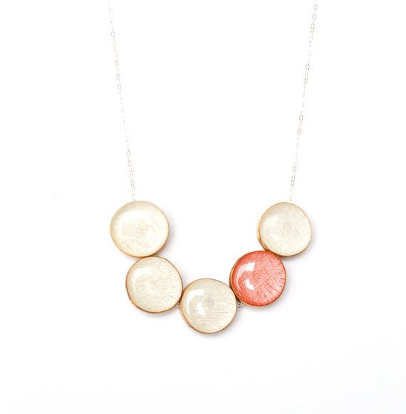 White and coral statement necklace bubble by starlightwoods, $67.50
