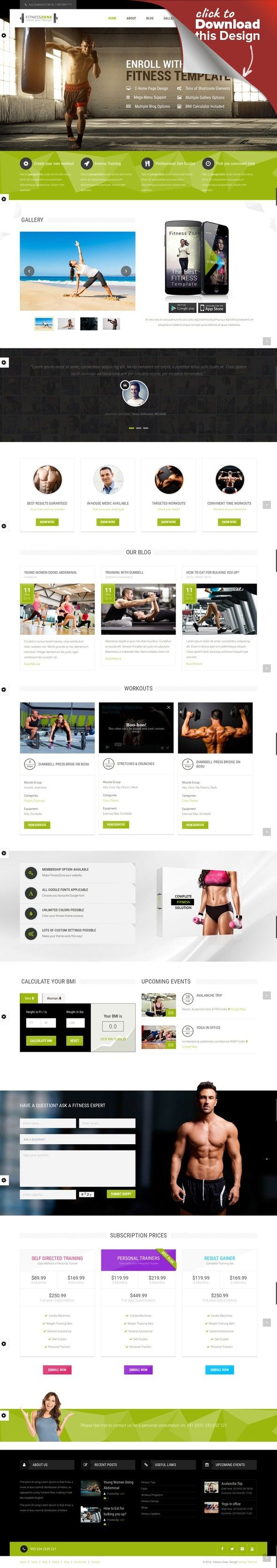 Fitness Zone | Gym & Fitness Theme, perfect fit for fitness centers and Gyms body building, boxing, classes, coach, crossfit, fitness, fitness centre, gym, health, personal trainer, responsive, sport club, sports, swimming, trainers Fitness Zone Wordpress theme muscled for modern trend, gyms, sport club or fitness centre and personal trainers! Fully responsive layout that looks great on mobile and tablet devices. With inbuilt drag and drop pag...