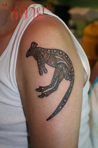 Tattoo by Plai's tattoo : tribal aborigin kangaroo, via Flickr. I have a friend with this tattoo!!