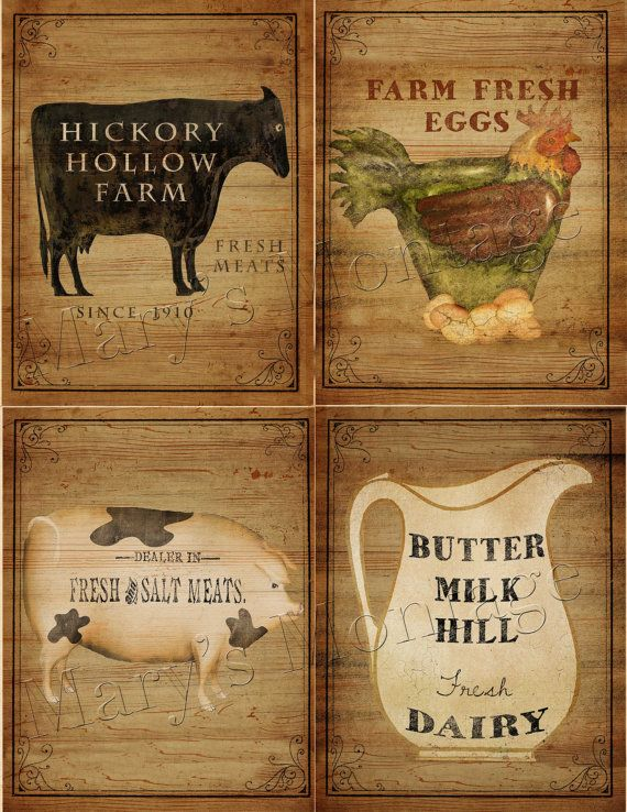Farm House Signs Sheet 85x11 Download & print by MarysMontage, $2.00
