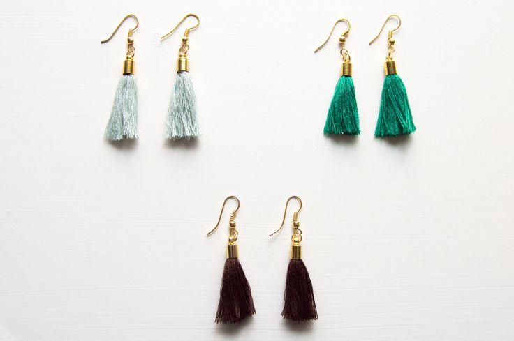 Oorbellen met kwastje | Earrings with tassle by BecciesHandmade on Etsy
