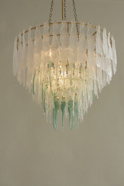 The Crystal Chain Gang 'Melt' (green chandelier, individually hot pressed glass feathers and brass frame)