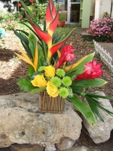 Tropical reception wedding flowers,  wedding decor, wedding flower centerpiece, wedding flower arrangement, add pic source on comment and we will update it. www.myfloweraffair.com can create this beautiful wedding flower look.