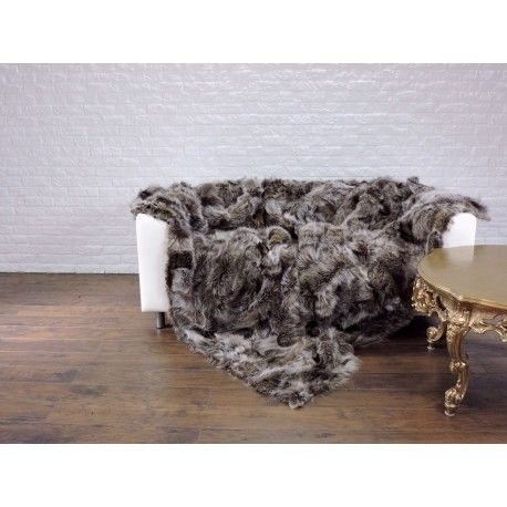 Real raccoon fur throw blanket