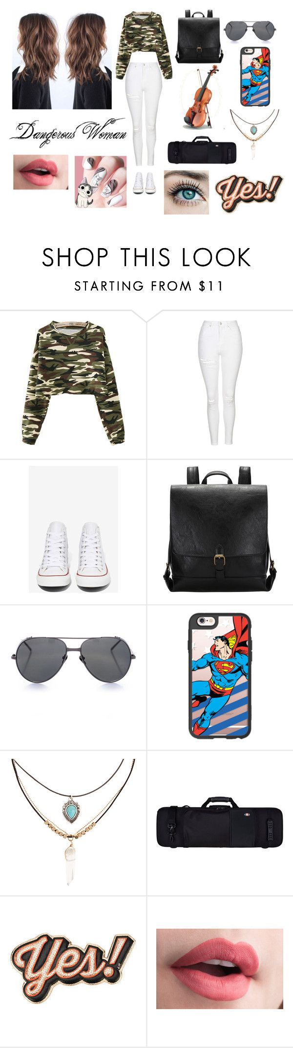 """""""Hi!!"""" by samanthadanetti on Polyvore featuring moda, Topshop, Converse, Linda Farrow, Casetify, Accessorize, Protec y Anya Hindmarch"""
