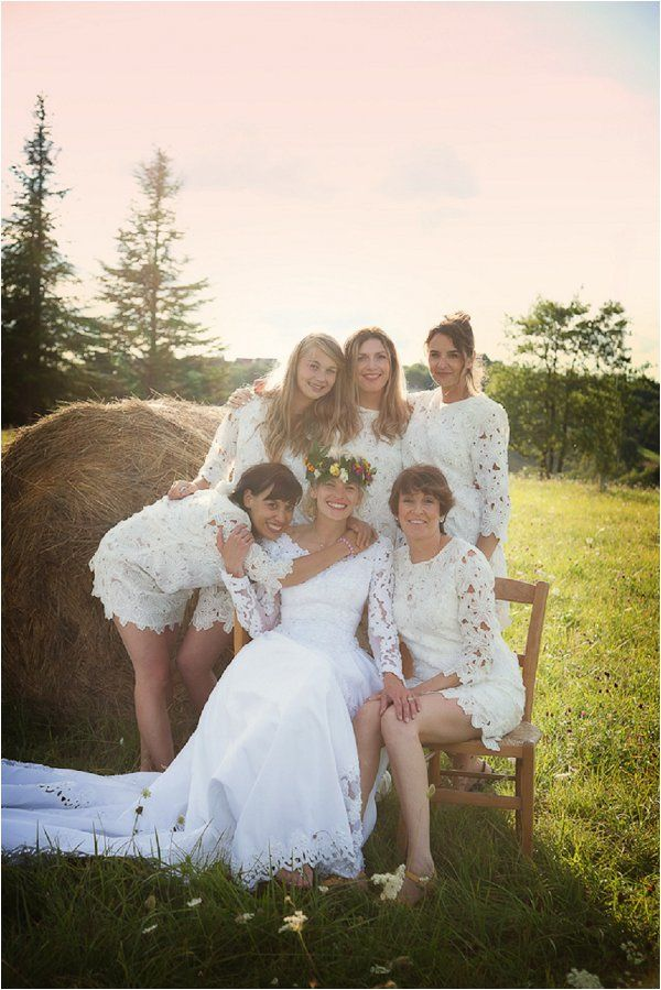 white bridesmaid dresses | Image by Lydia Taylor-Jones, read more http://www.frenchweddingstyle.com/80s-inspired-wedding-france/