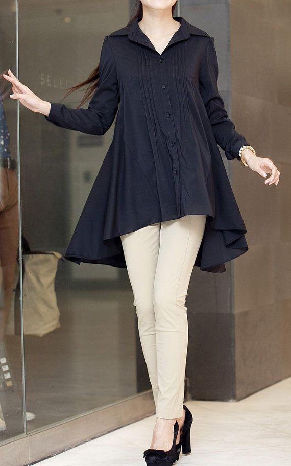 summer Cloak style shirt asymmetric single breasted by MaLieb, $89.00