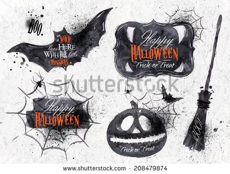 Halloween set, drawn Halloween symbols pumpkin, broom, bat, spider webs, lettering and stylized drawing in vintage style - stock vector