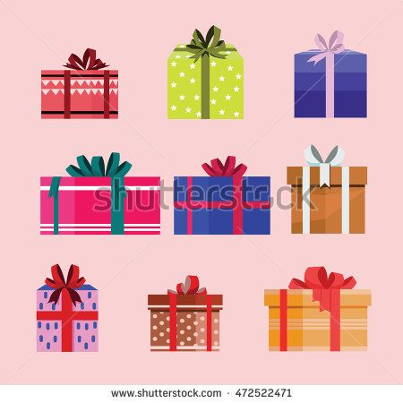 gift box birthday set present with different pattern. vector illustration 114