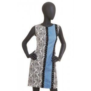 Folk Design - sukienka white and blue
