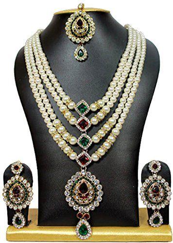 Elegant Gold Plated Long Bridal Red & Green Stone Indian ... https://www.amazon.com/dp/B01NAWGXMC/ref=cm_sw_r_pi_dp_x_4GNWybS8EMANF