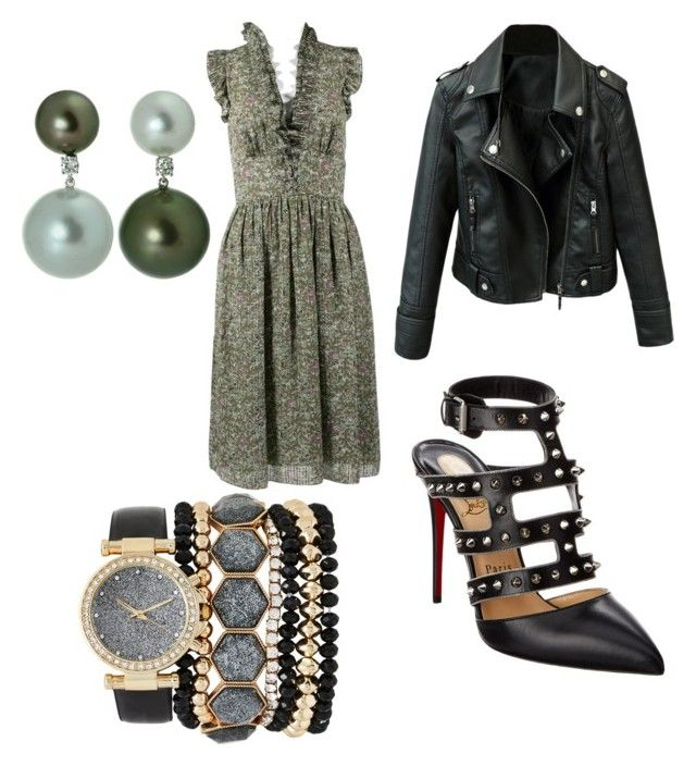"""green at heart"" by dasturi-roxana-gabriela on Polyvore featuring Vanessa Bruno, Christian Louboutin, Jessica Carlyle and emeraldgreen"