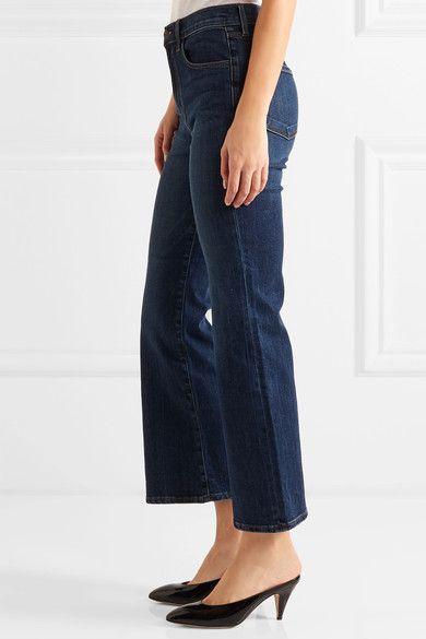 J Brand - Carolina Cropped High-rise Flared Jeans - Mid denim - 27