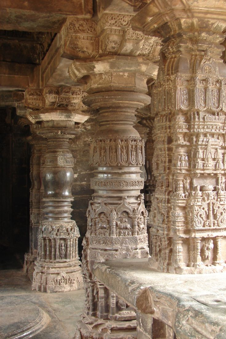 Full and half Gadag-style pillars at Sarasvati Temple in Gadag city, Gadag district, Karnataka, India