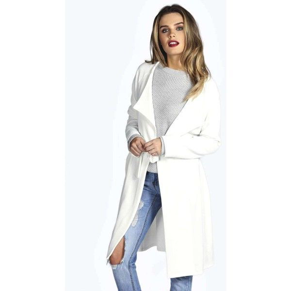 Boohoo Ebba Fluid Trench ($16) ❤ liked on Polyvore featuring outerwear, coats, cream, trench raincoat, white wrap coat, white puffy coat, rain trench coat y puffer coat