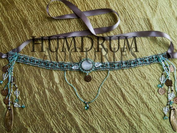 Forest Dryad Diadem Natural Moonstone Beaded by HumdrumAuguries