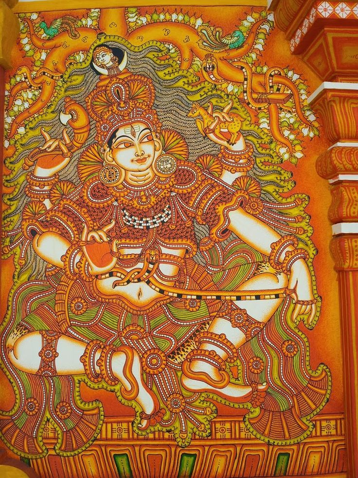 Shiva Dakshinamurthi, temple mural from Kerala