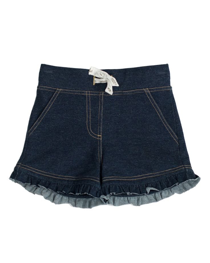Sun and Shine Shorts | Custom denim fabric shorts comfortable enough to play in. | www.peekaboobeans.com/chantalcp