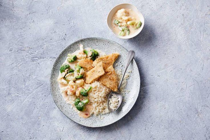 Vanavond doen we een RGV'tje: rijst, groente in saus en krokant gebakken visfilet - Recept - Allerhande