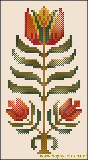 Primitive folk flower - free cross stitch pattern by happy-stitch.net