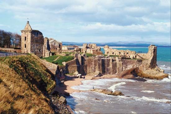 St. Andrews, Fife, Scotland, great little place for a picnic on the beach and a wander through old abby ruins. Plus you can stop and Anne Struther on the way back for the best fish and chips in the world. Literally.