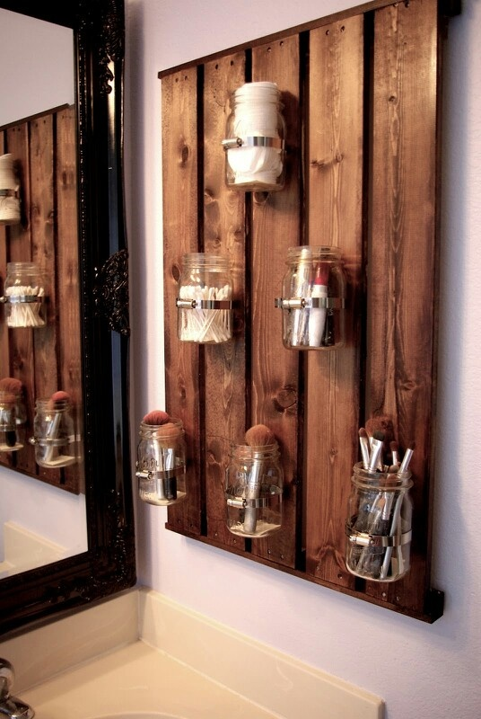 For the bathroom - I like the rustic + glamour contrast of the mirror and utensil board