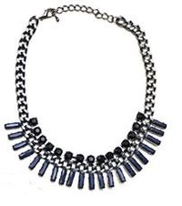 statement necklace with gunblack chain: Blue and black beads - sale