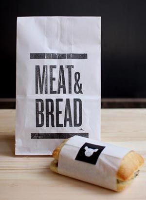 packaging simple lettering meat & bread white + text