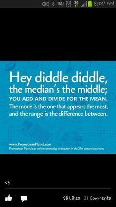 Math Mean Median Mode Rhyme-- check it out! Can anyone think of a few more verses? #mathteacher