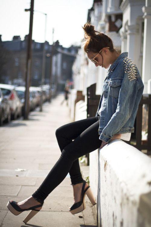 denim jacket with studs. leggings. wooden platforms.