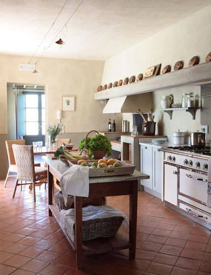 a kitchen with terracotta floors