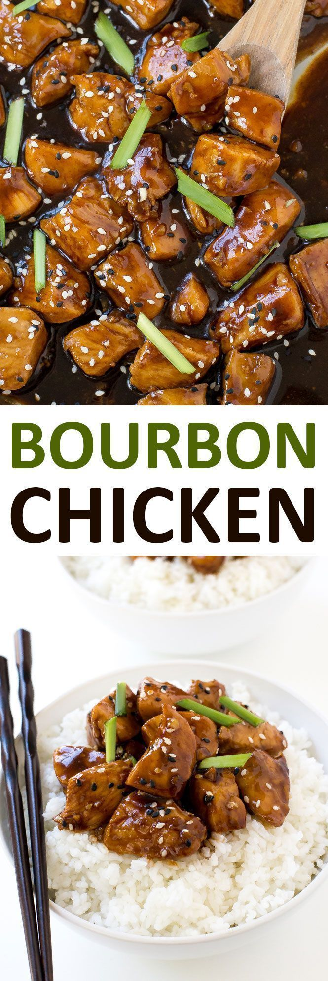 Super Easy One Pan Bourbon Chicken. Serve with rice and noodles to make it a meal!   chefsavvy.com #recipe #bourbon #chicken #dinner