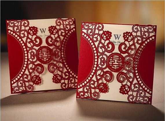 High Class Chinese Red Wedding Invitations Convites De Casamento 2014  Elegant Laser Cut Invitation Card As
