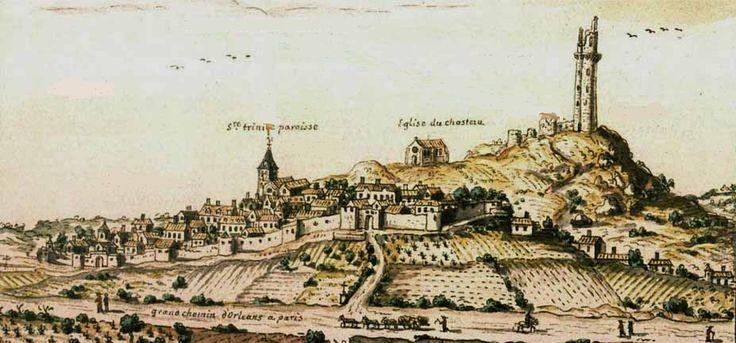 Veüe de la ville et du chasteau de Montleheri en Hurepoix à six lieües de Paris, 1704.