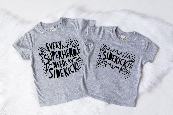 Matching Every Superhero Needs A Sidekick And Sidekick Set Superhero Shirt Sibling Shirts Brother Shirts