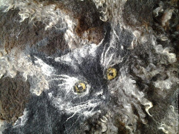 """Купить Шарф большой нунофелтинг """"А, вот, кому котика черного!"""" - тёмно-серый, звериная расцветка"""