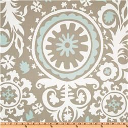 Premier Prints Suzani Twill Powder Blue. Living room curtains! I just saw this same exact thing on Etsy, but the seller was selling custom curtains for $130 a pair! This is $6 a yard. I am extremely tempted to buy this and attempt to make some curtains.
