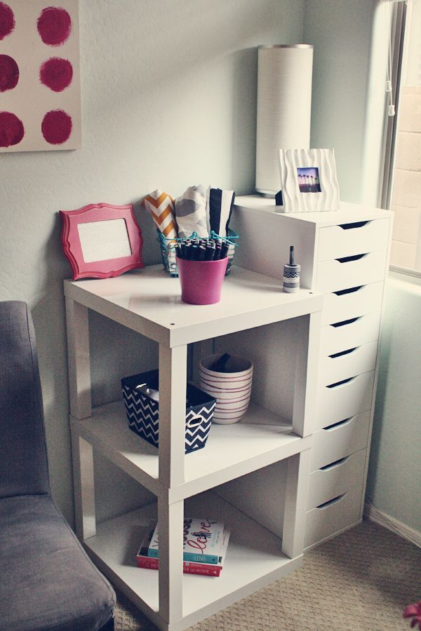 IKEA Lack Tables Placed Together...great idea for a bedside table or end table in the living room BRILLIANT idea!!