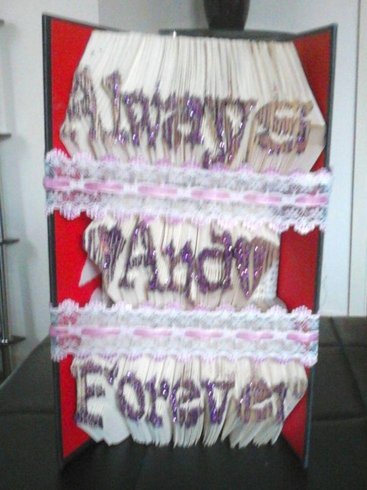 Handmade Glittered Always and Forever Bookfolding Art, Wedding, Anniversary