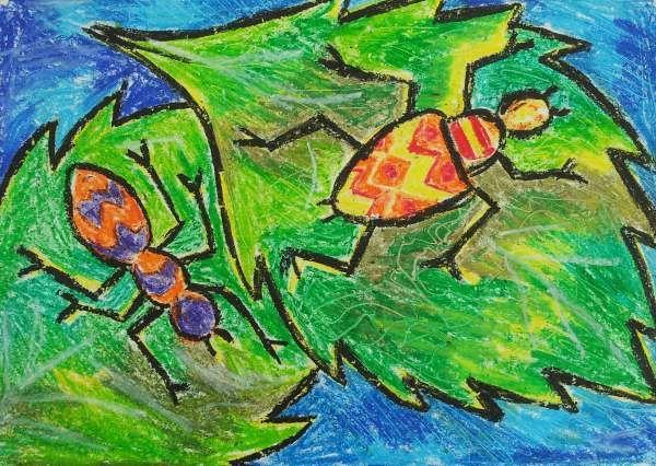Bugs on Leaves: Oil Pastel