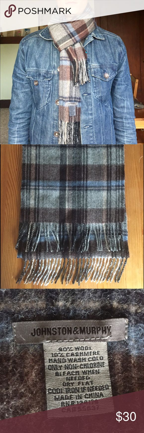 Johnson and Murphy wool, cashmere scarf Beautiful, brand new wool and cashmere scarf. Only worn 1 time. Johnston & Murphy Accessories Scarves & Wraps
