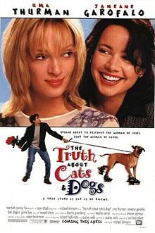 "The Truth About Cats & Dogs is a 1996 American romantic comedy film, starring Janeane Garofalo, Uma Thurman, Ben Chaplin, and Jamie Foxx. Abby Barnes (Garofalo) is a veterinarian who hosts a Los Angeles radio show called The Truth About Cats and Dogs. Abby strikes up an unexpected friendship with her neighbor Noelle Slusarsky (Thurman), a ""traditionally attractive"" model who is sweet but not very bright"
