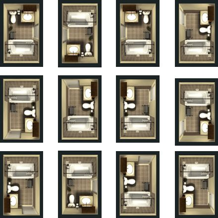 Different Design Plans For A Basic, Small Bathroom. Top, Far Right Design  For New Main Bath (which Utilizes Existing Door Way From Hallway) And  Bottom Row, ...