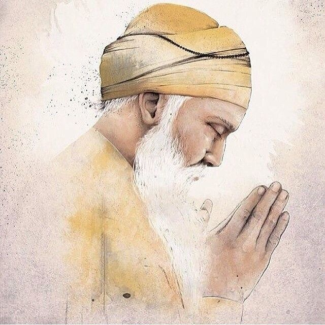 "Guru Nanak Dev Ji ""Burn worldly love,  rub the ashes  and make ink of it,  make the heart the pen,  the intellect the writer,  write that which has no end or limit.""  ~ Guru Nanak Dev Ji  Beautiful artwork by @bhogalr"