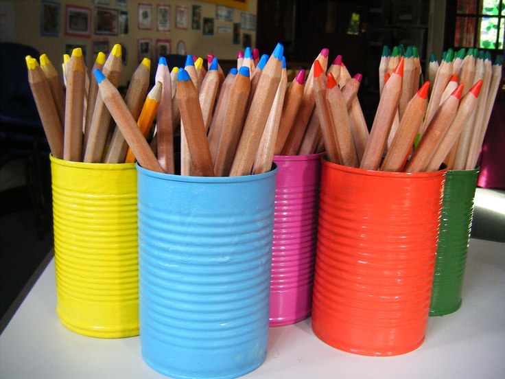 """I'm a sucker for anything rainbow colored. I am going to make these (in Rustoleum's """"Lagoon"""") for Sage's room though. I'm going to nail them to the wall by her desk."""
