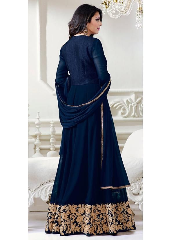 Shop Online Blue Faux Georgette Abaya Style Anarkali at Haya Creations with free shipping and cash on delivery across India.
